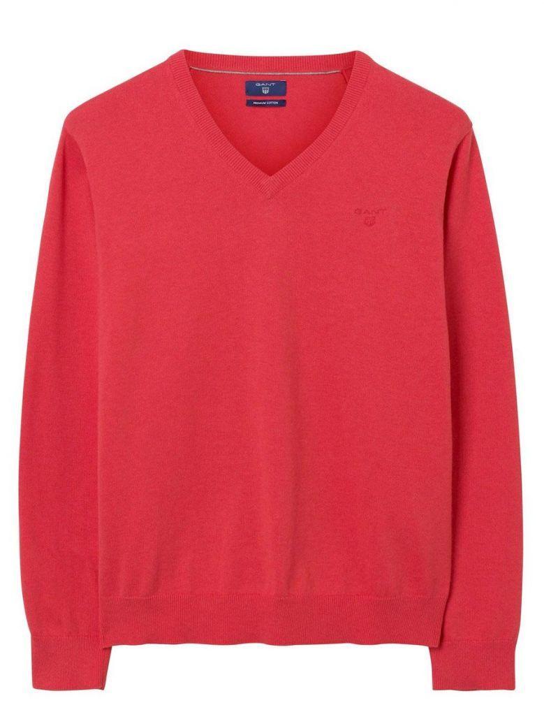 GANT Red Light Weight Cotton V-Neck Jumper