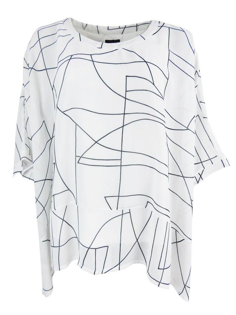 Q'Neel White Geometric Print Batwing Sleeve Tunic