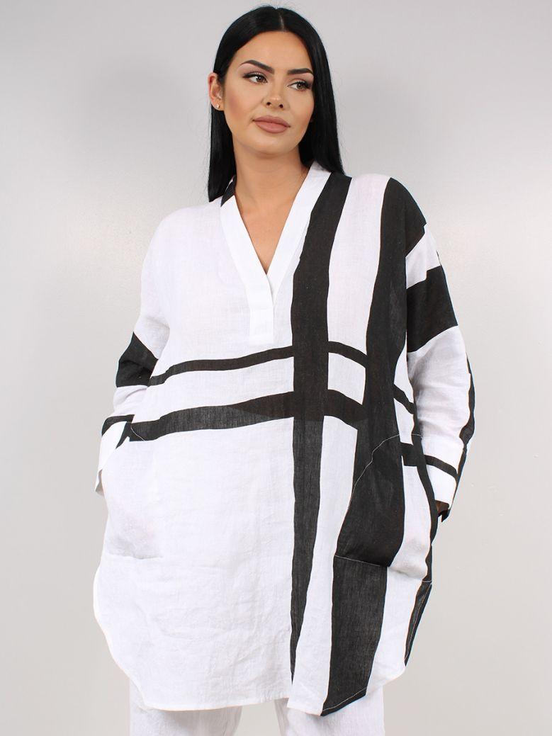 Q'Neel White V-Neck Printed Tunic