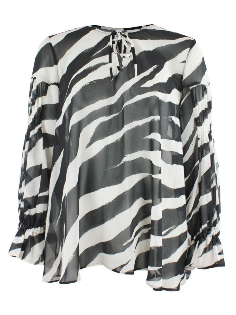 Que Black & Off White Printed Blouse