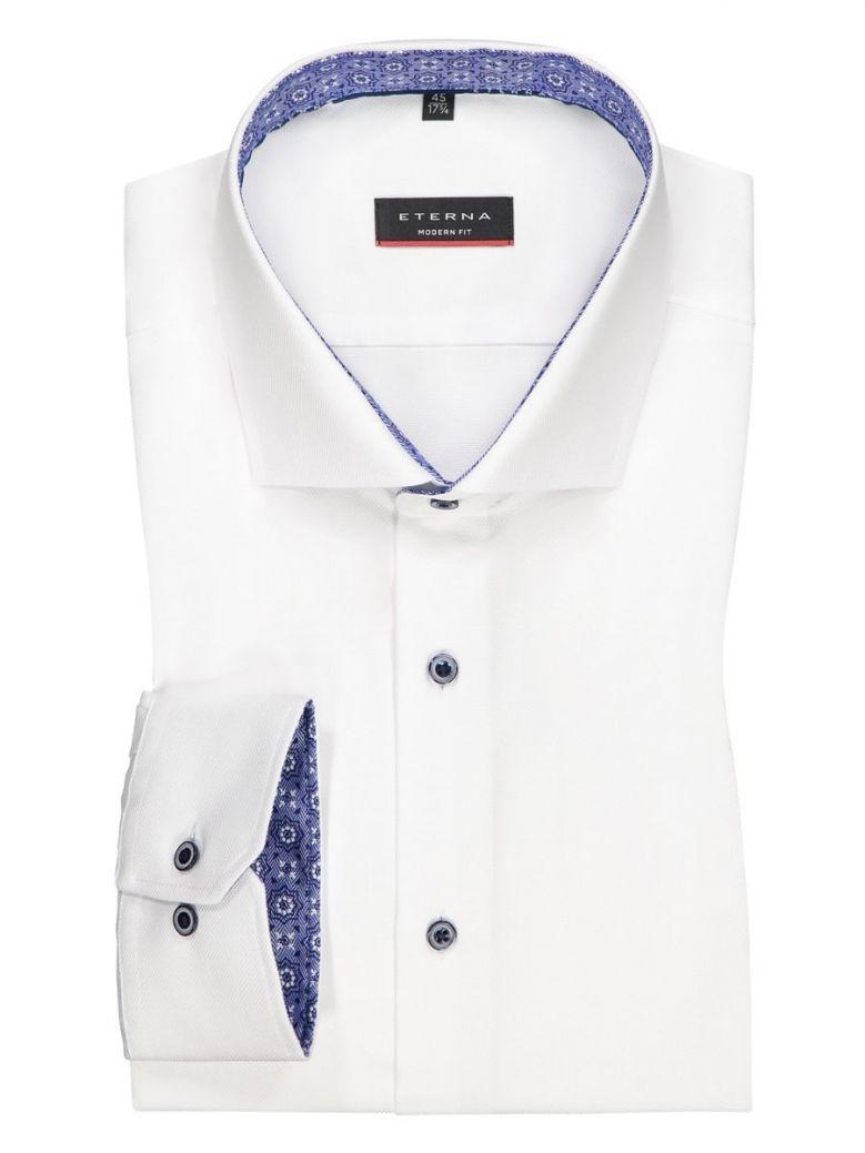 Eterna White Modern Fit Navy Button Shirt