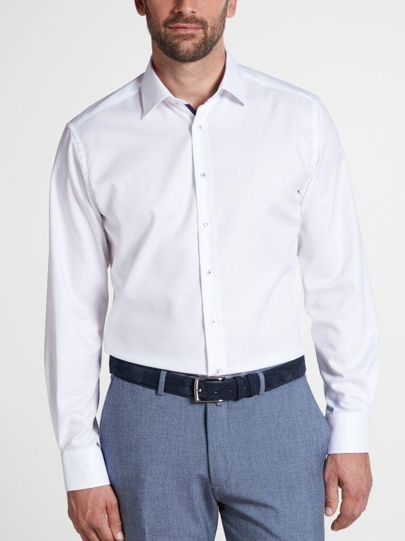 Eterna White Long Sleeved Modern Fit Natté Shirt