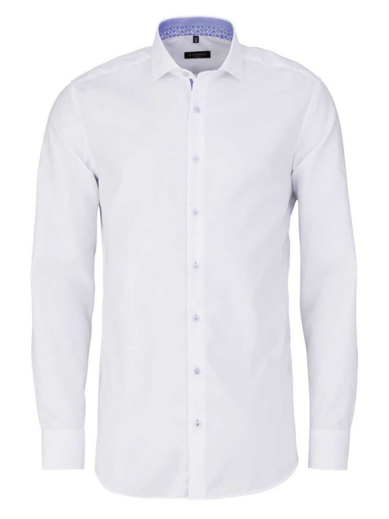 Eterna White Contrast Button Slim Fit Shirt