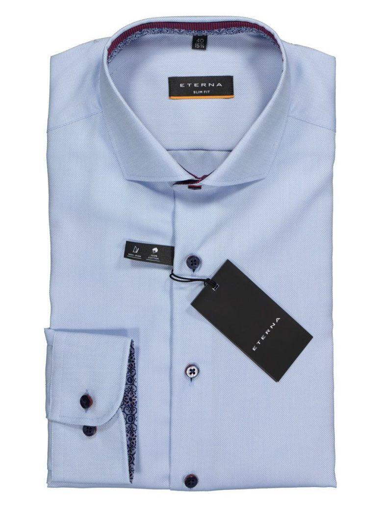 Eterna Mid Blue Contrast Button Slim Fit Shirt