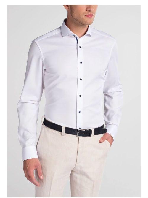 Eterna White Slim Fit Natté Shirt
