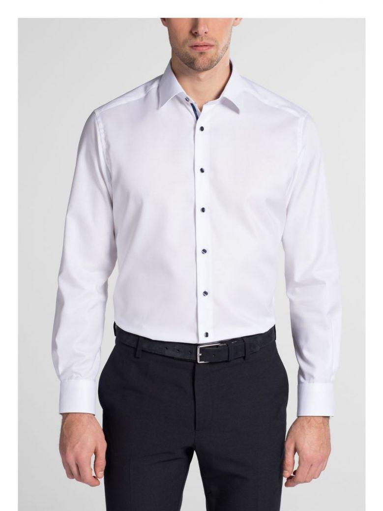 Eterna White Modern Fit Natté Shirt