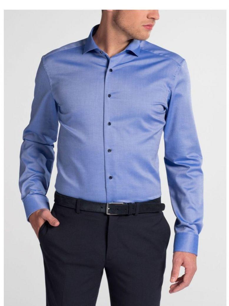 Eterna Blue Slim Fit Natté Shirt