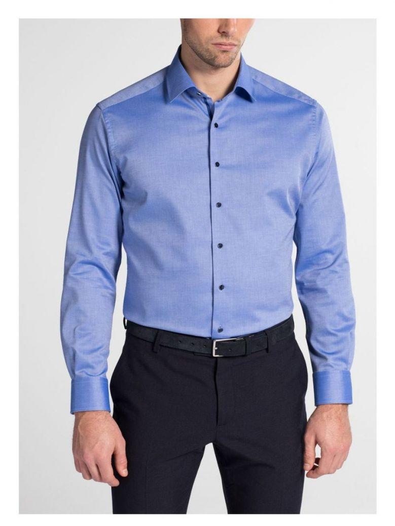 Eterna Blue Modern Fit Natté Shirt
