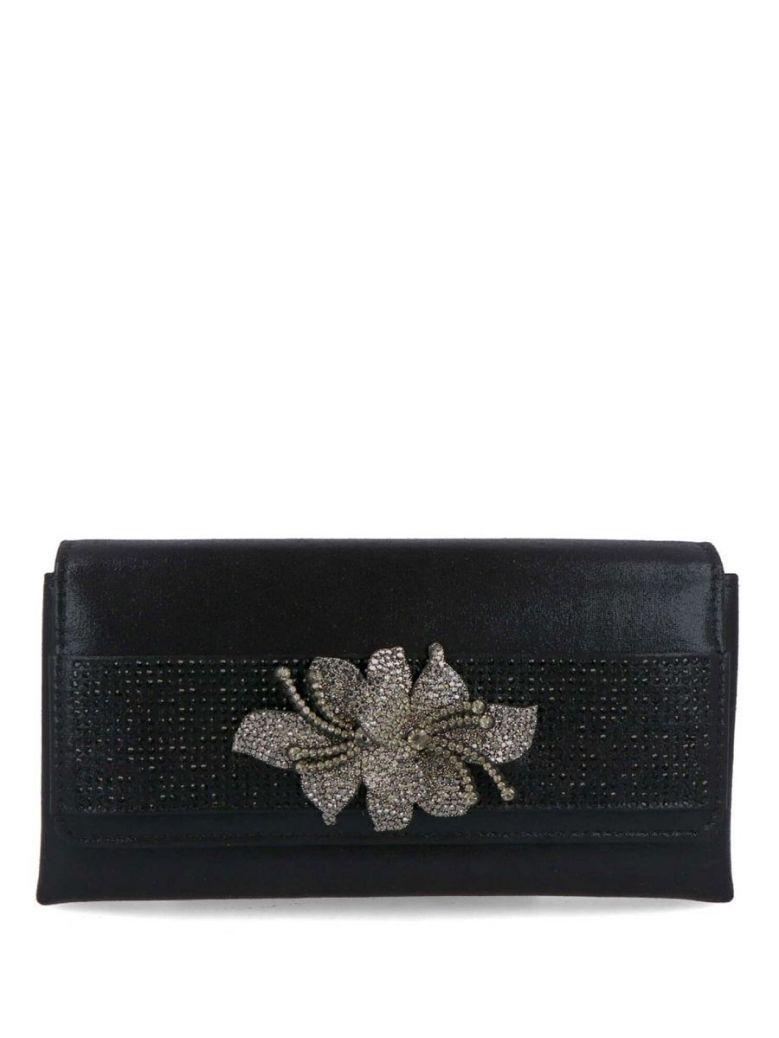 Menbur Black Diamante Flower Clutch Bag