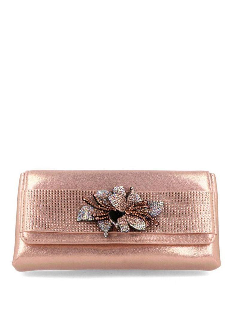 Menbur Rose Gold Diamante Flower Clutch Bag
