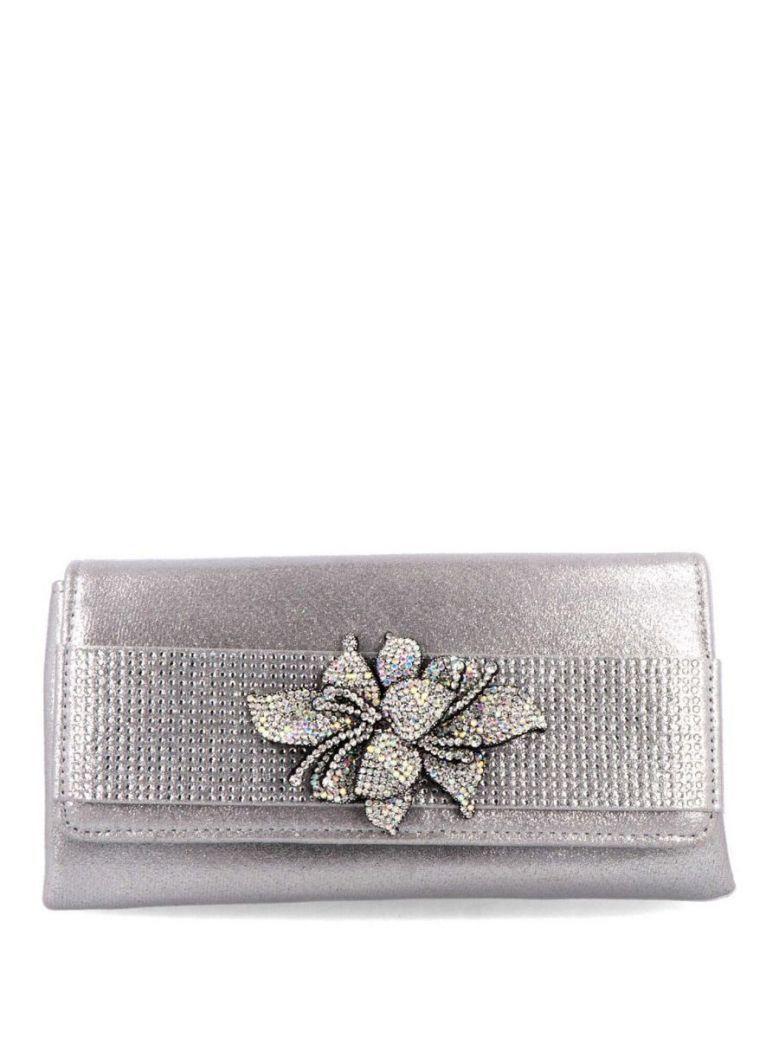 Menbur Silver Diamante Flower Clutch Bag