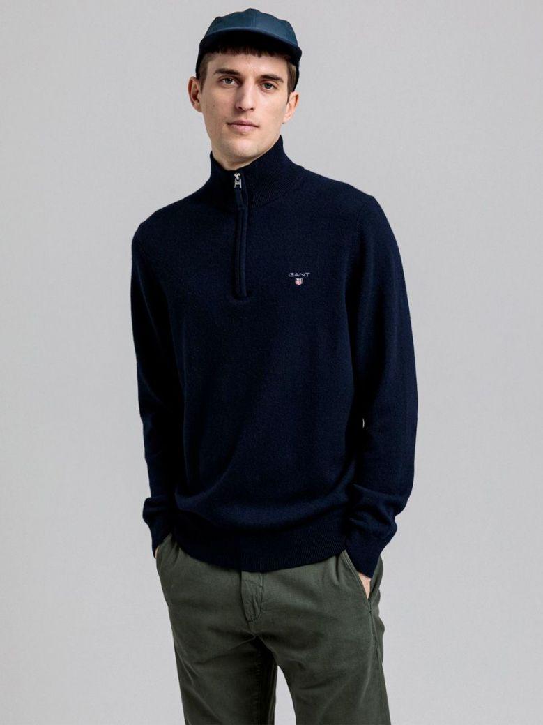Gant Navy Super Fine Lambswool Half-Zip Sweater