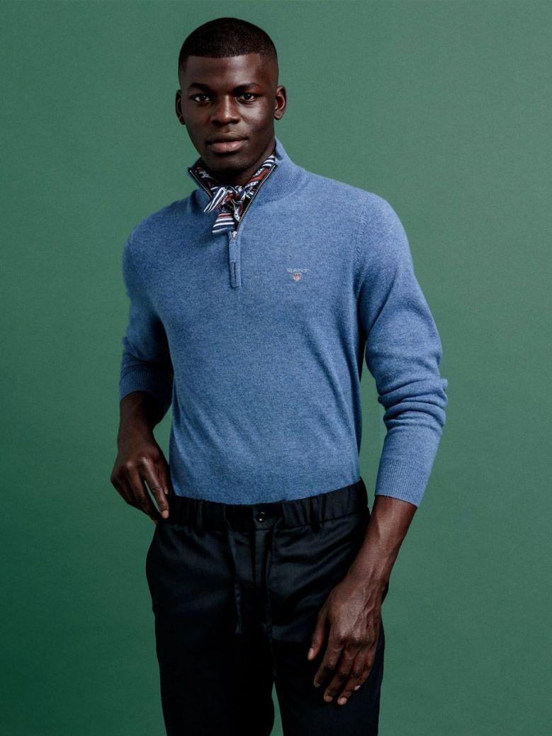 Gant Blue Super Fine Lambswool Half-Zip Sweater