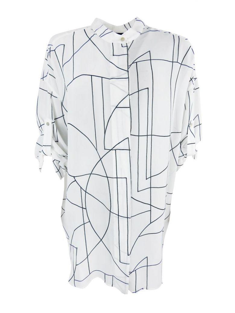 Q'Neel White Geometric Print Sheer Blouse