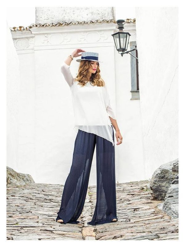 Michaela Louisa Navy Pleated Trousers