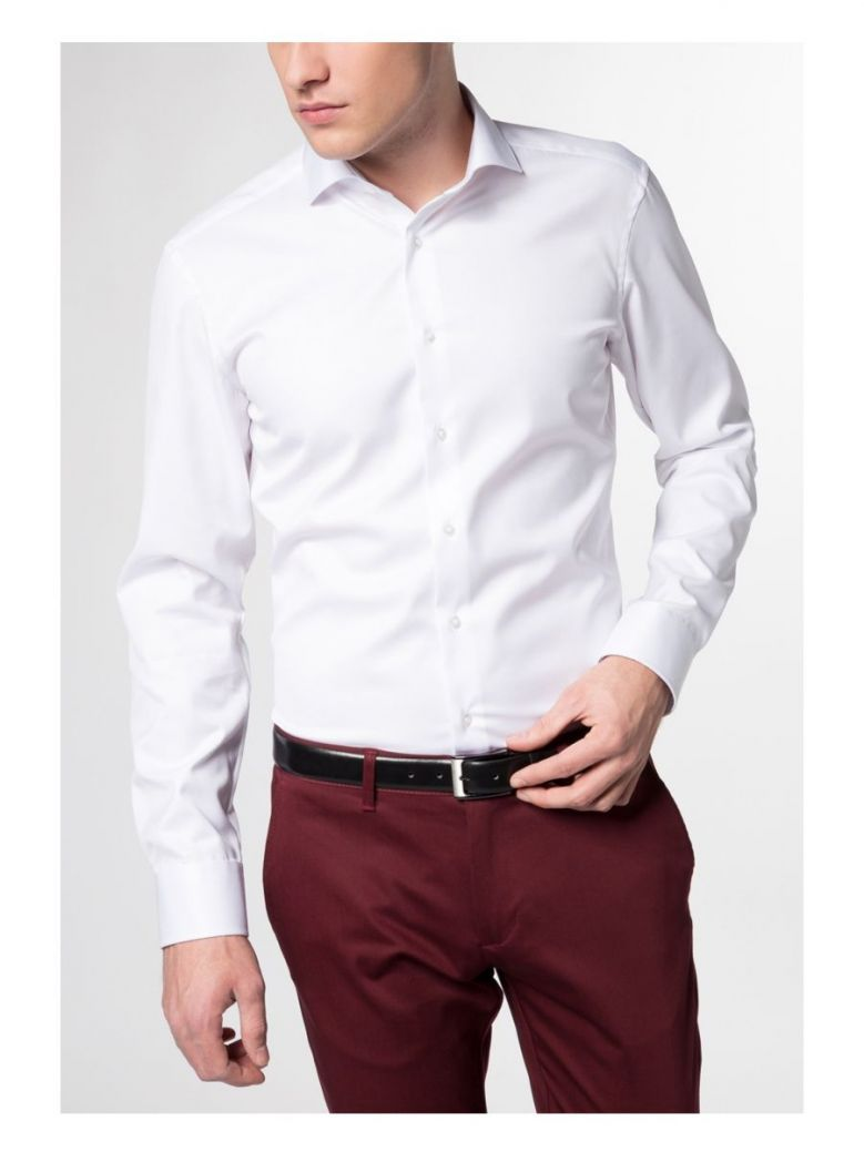 Eterna White Slim Fit Long Sleeve Shirt