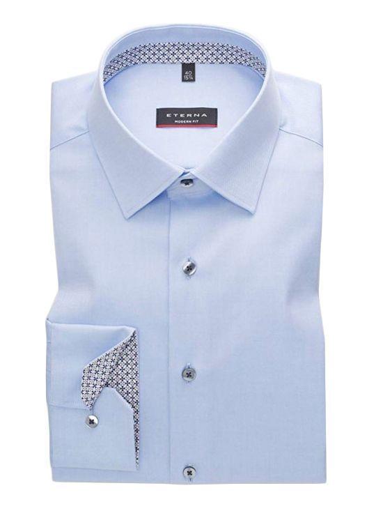 Eterna Blue Modern Fit Plain Shirt