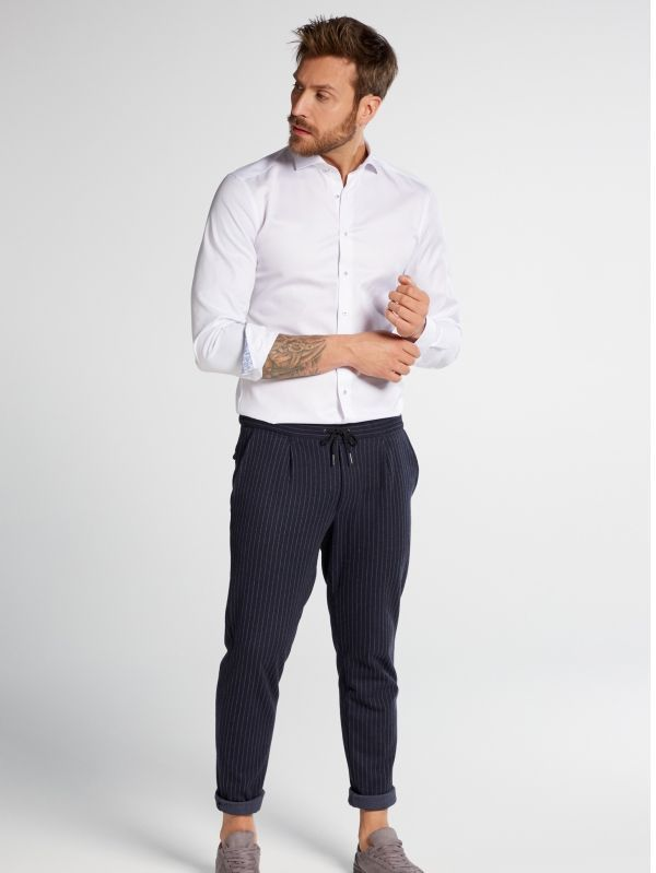 Eterna White Contrast Stitch Slim Fit Shirt