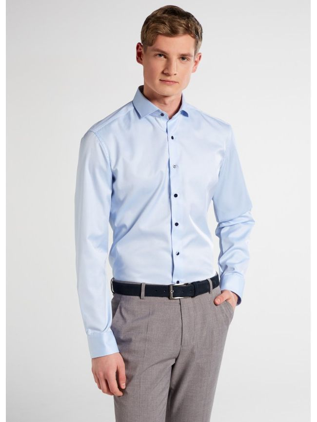 Eterna Blue Contrast Button Slim Fit Shirt