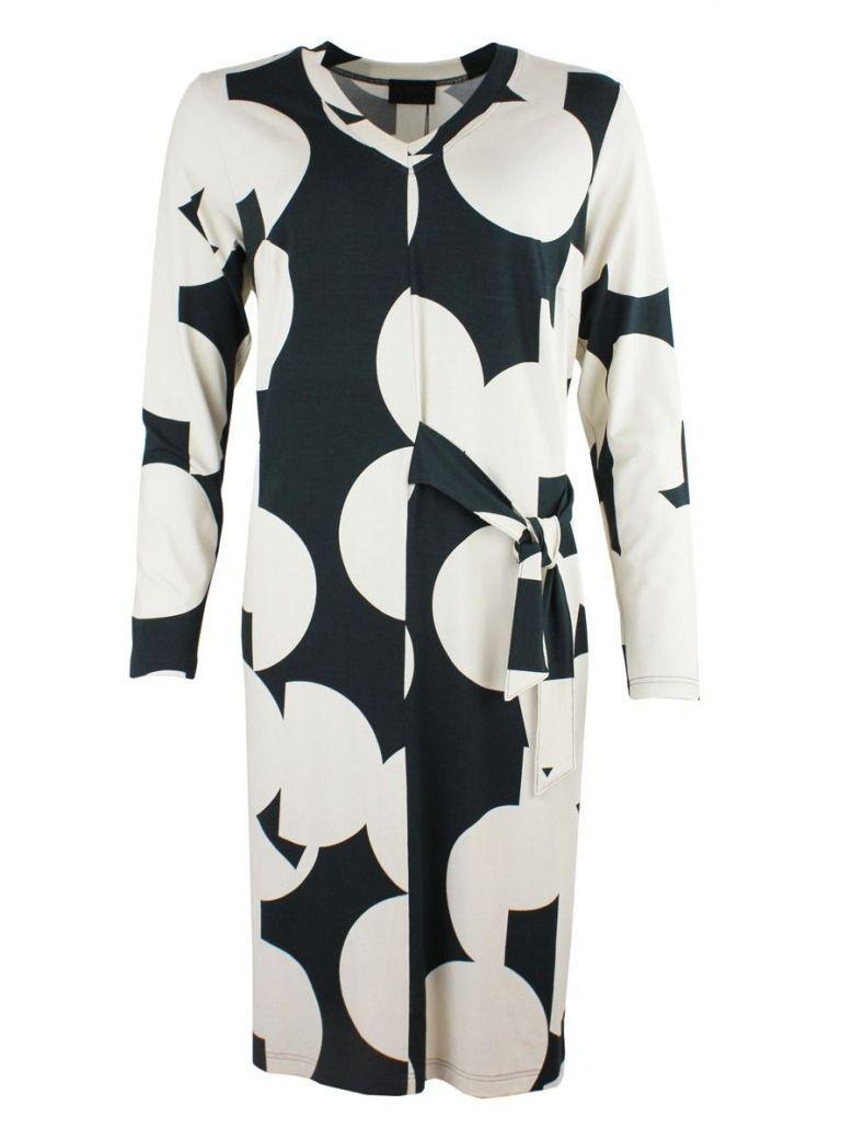 Qneel Cream & Black Patterned Dress