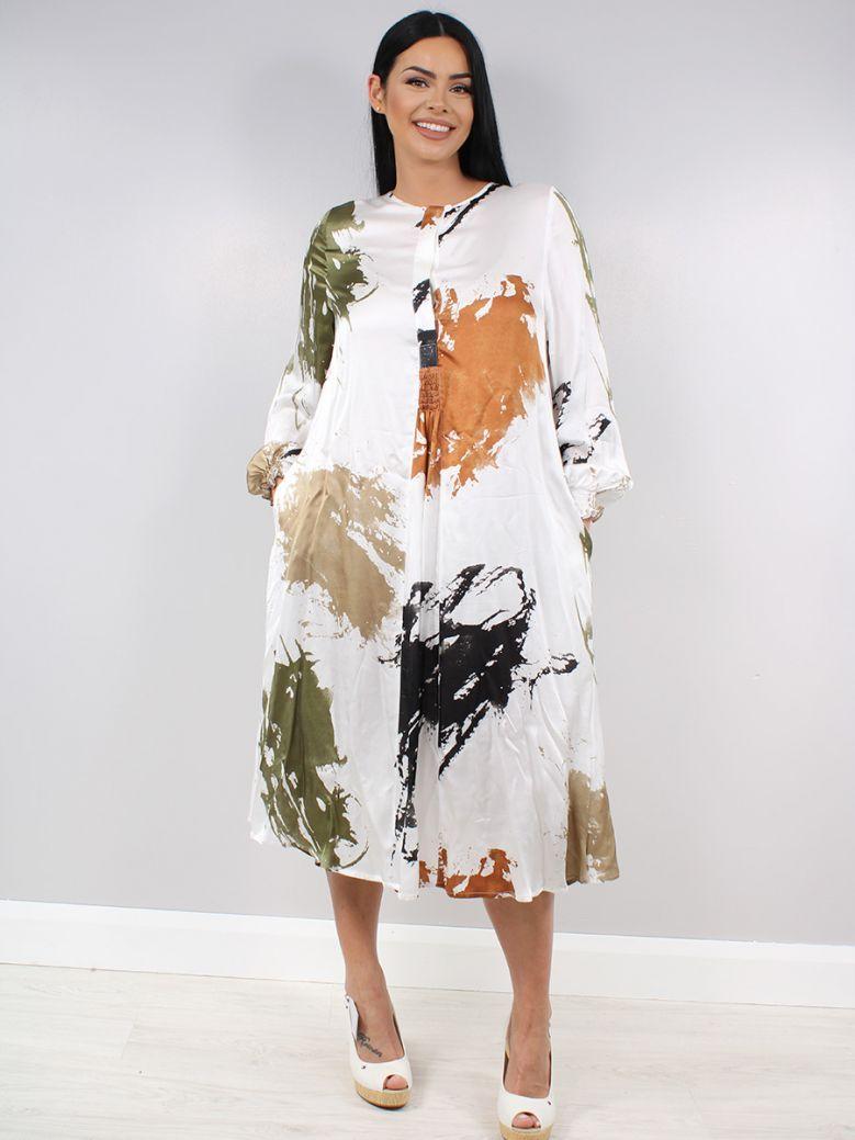 Q'Neel White Printed Dress