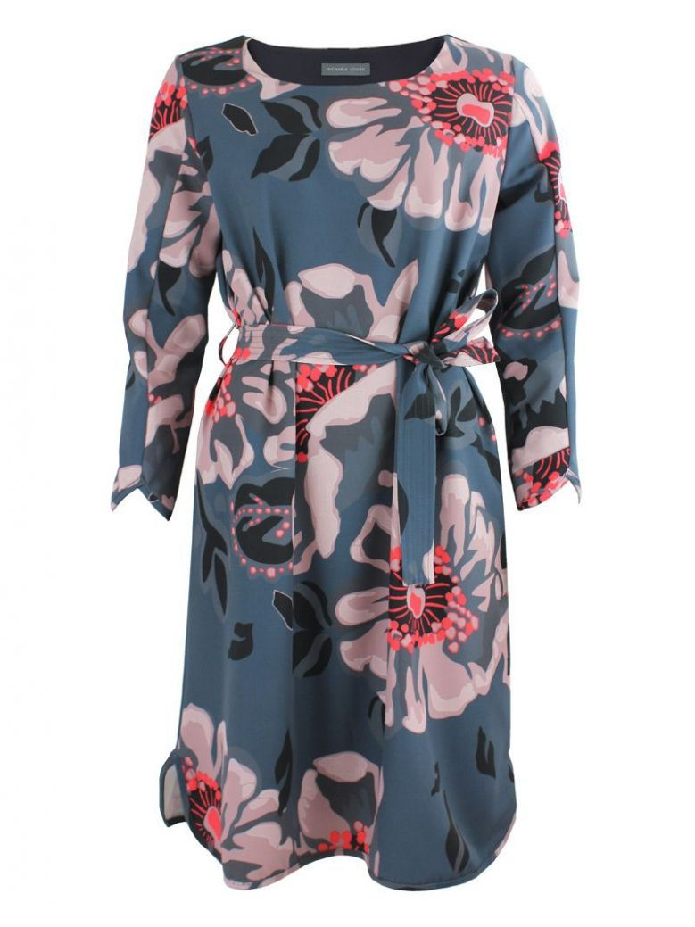 Michaela Louisa Grey Floral Print Tie Waist Dress