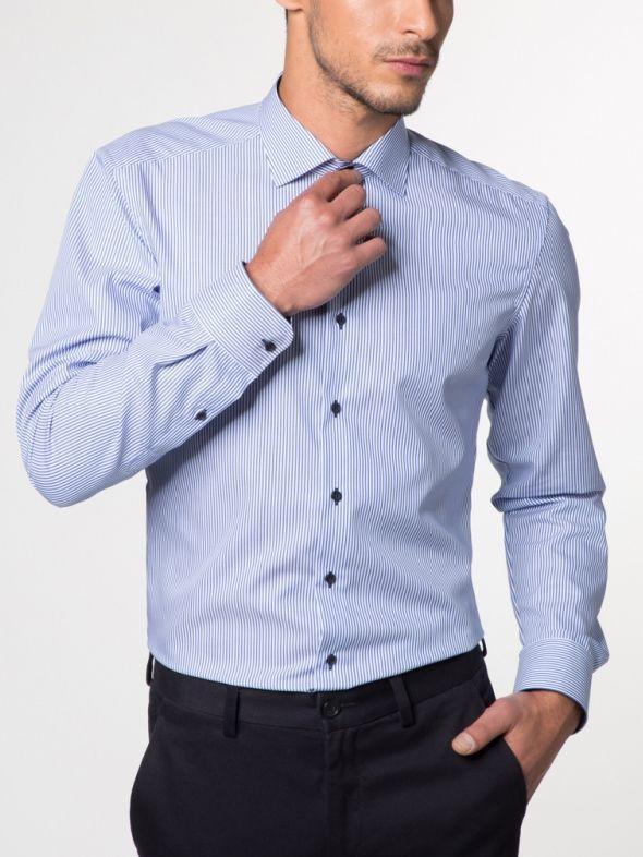 Eterna Light Blue & White Striped Long Sleeved Slim Fit Shirt