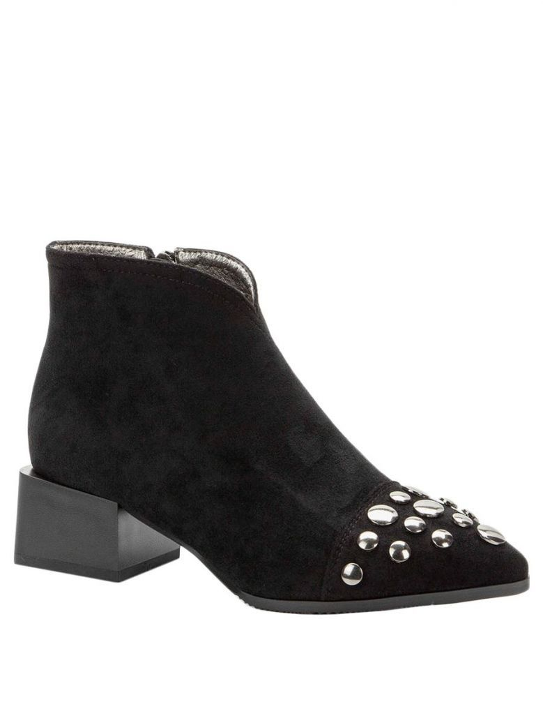 Betsy Black Faux Suede Studded Toe Heeled Boots