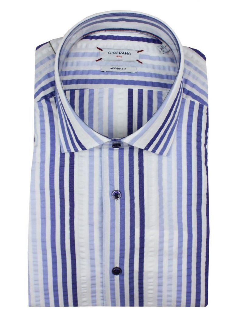 Giordano Blue and White Stripe Short Sleeve Shirt