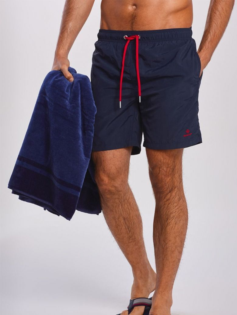 Gant Marine Navy Basic Long Cut Swim Shorts