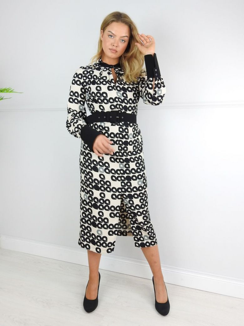Camelot Beige Print Belted Midi Dress