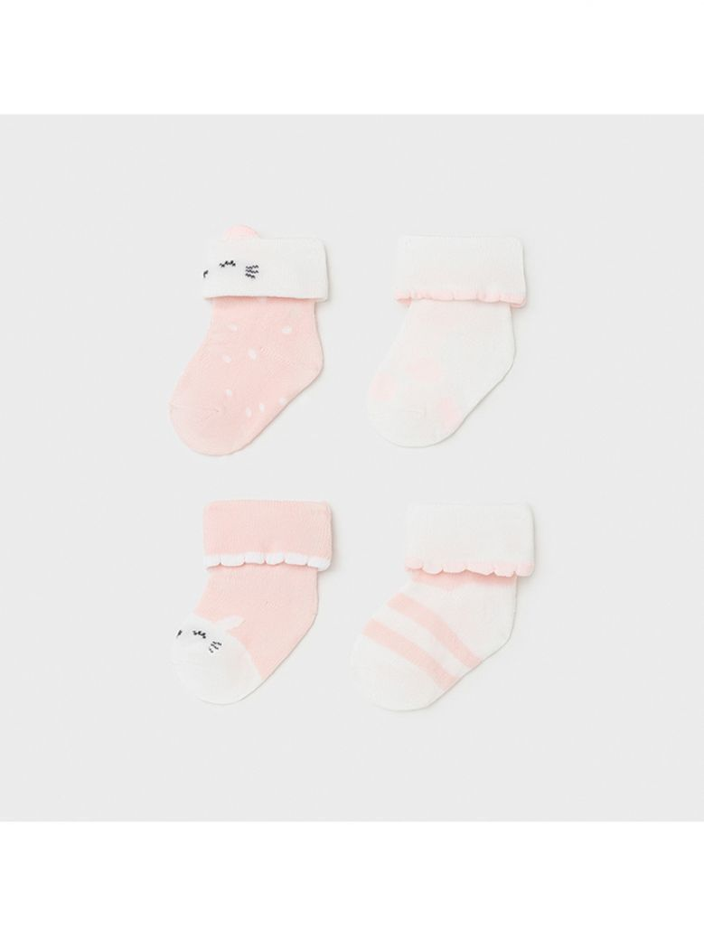 Mayoral Baby Pink Set of 4 Socks for Newborn Girl in Gift Box