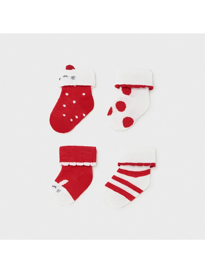 Mayoral Red Set of 4 Socks for Newborn Girl in Gift Box