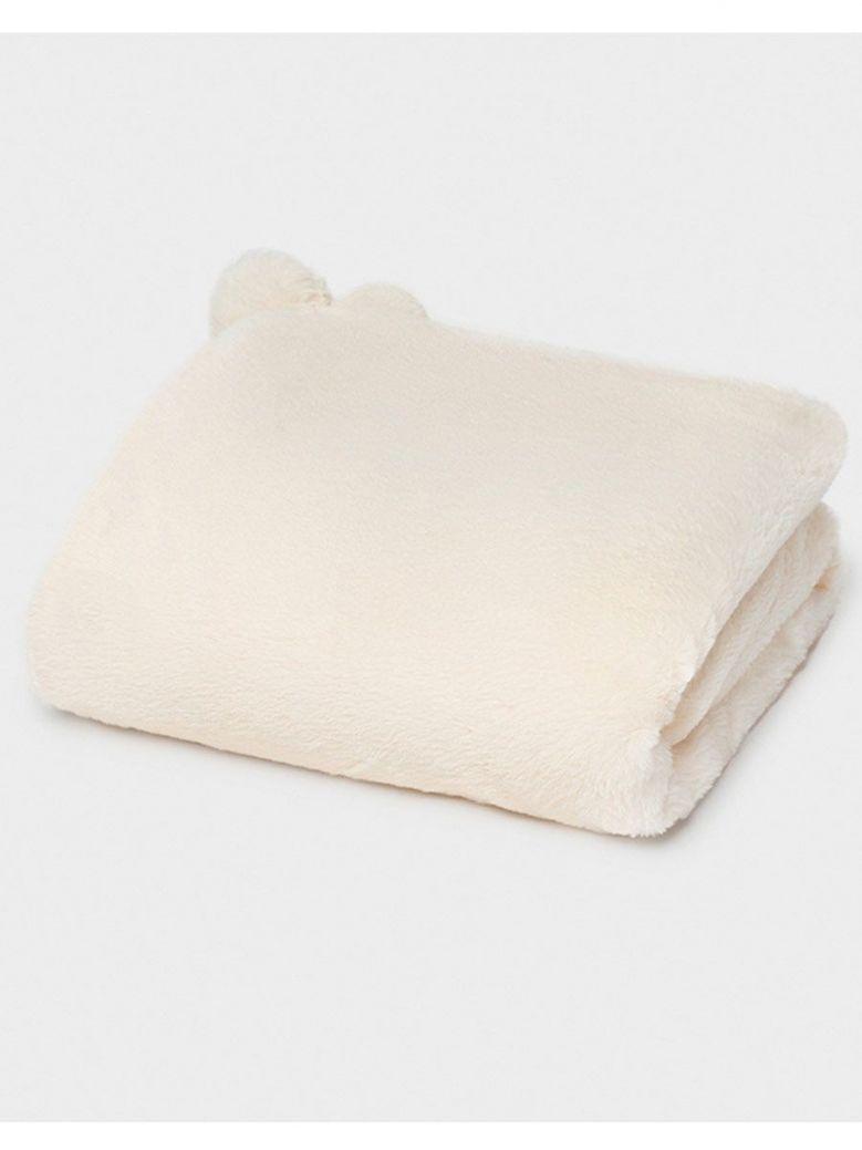 Mayoral Cream Faux fur blanket for baby