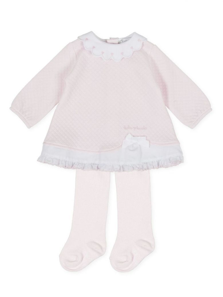 Tutto Piccolo Pink Quilted Ruffle Hem Dress and Tights
