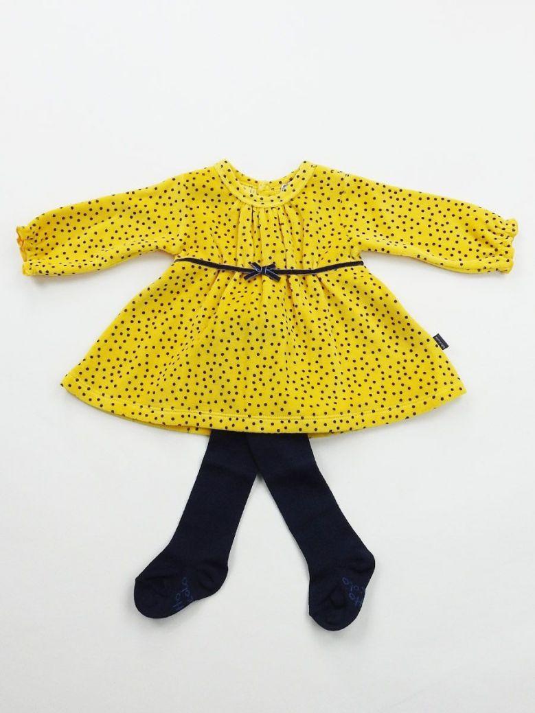 Tutto Piccolo Mustard and Navy Polka Dot Dress and Tights