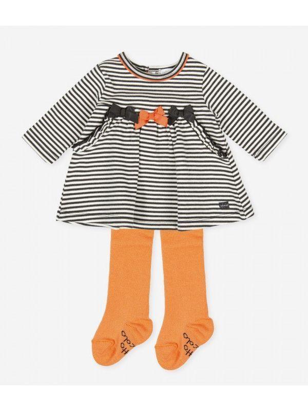 Tutto Piccolo Black and White Stripe Dress with Orange Tights