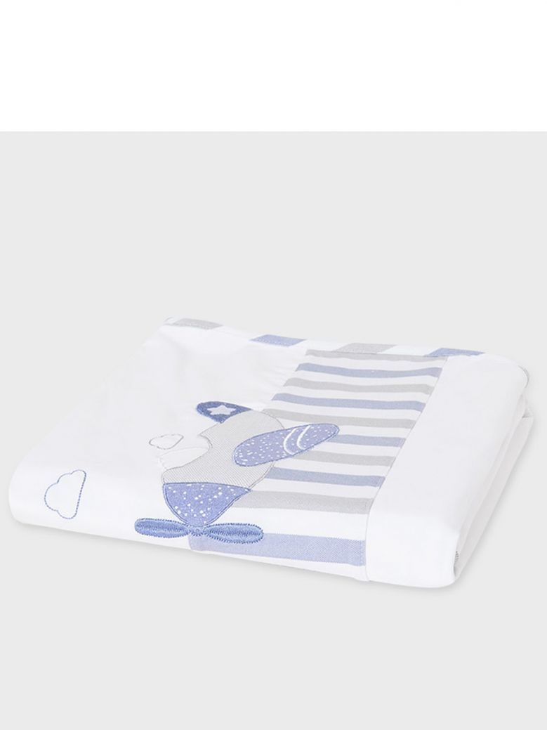 Mayoral Blue & White Embroidered Baby Blanket in Gift Box