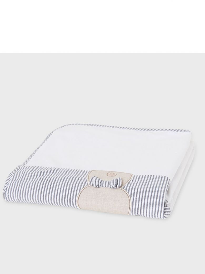 Mayoral Washed Black & White Embroidered Baby Blanket in Gift Box