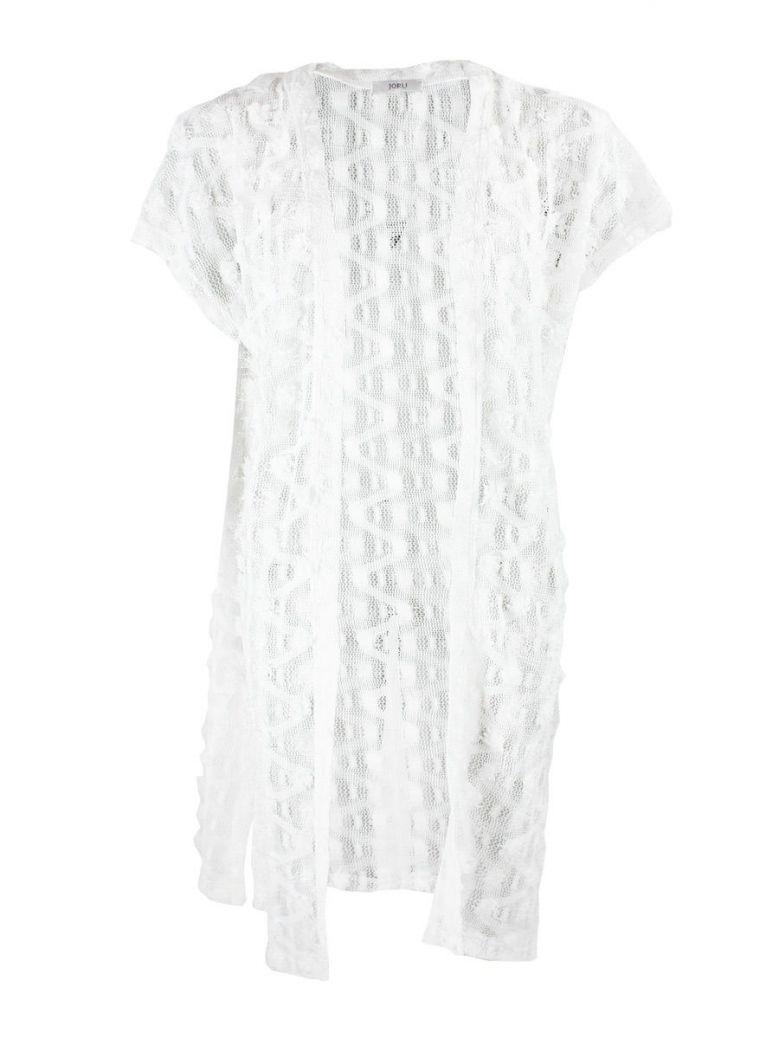 Jórli White Textured Knit Short Sleeve Cardigan