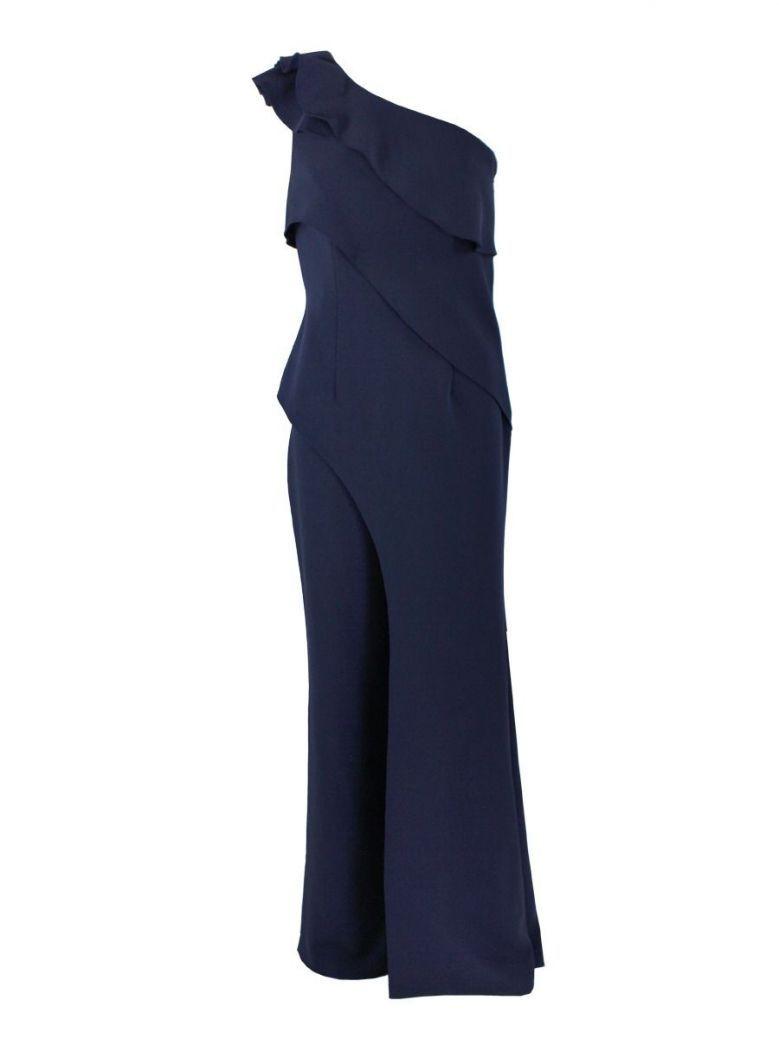 Veni Infantino for Ronald Joyce One Shoulder Ruffle Detail Crepe Jumpsuit , Navy, Style 991520
