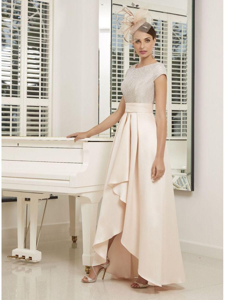 Veni Infantino for Ronald Joyce Light Gold Beaded Bodice Maxi Dress (Style: 991535)