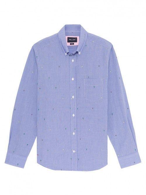 Eden Park Blue Slim Fit Exotic Micro Print Cotton Shirt