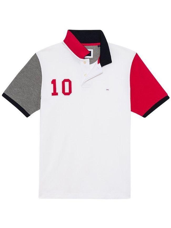 Eden Park White Regular Fit Colour-Blocked Polo Shirt