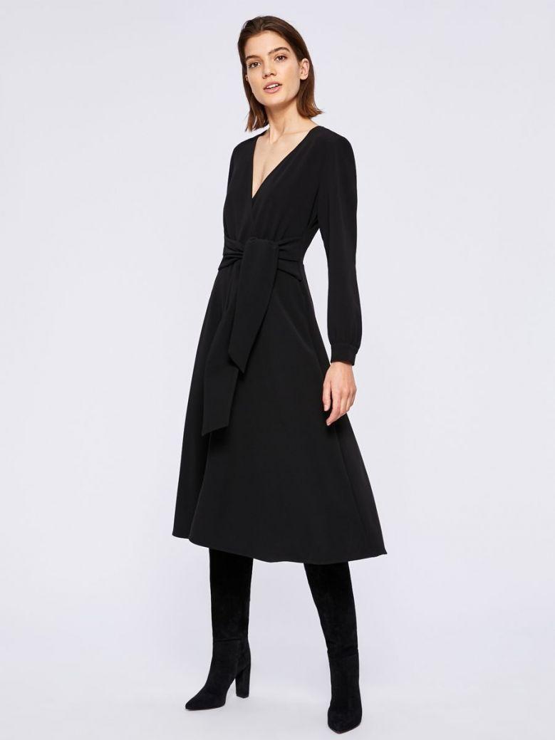 Emme by Marella Long Sleeve V-Neck Midi Dress Black