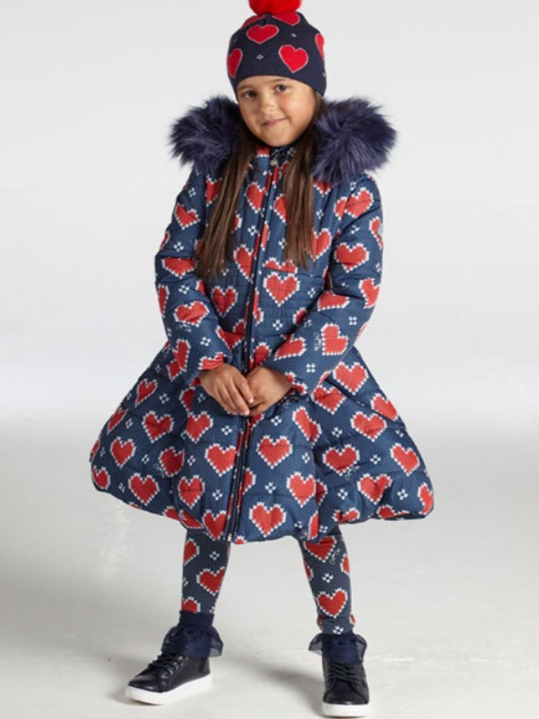 A Dee Knitted Heart Print Jacket Navy