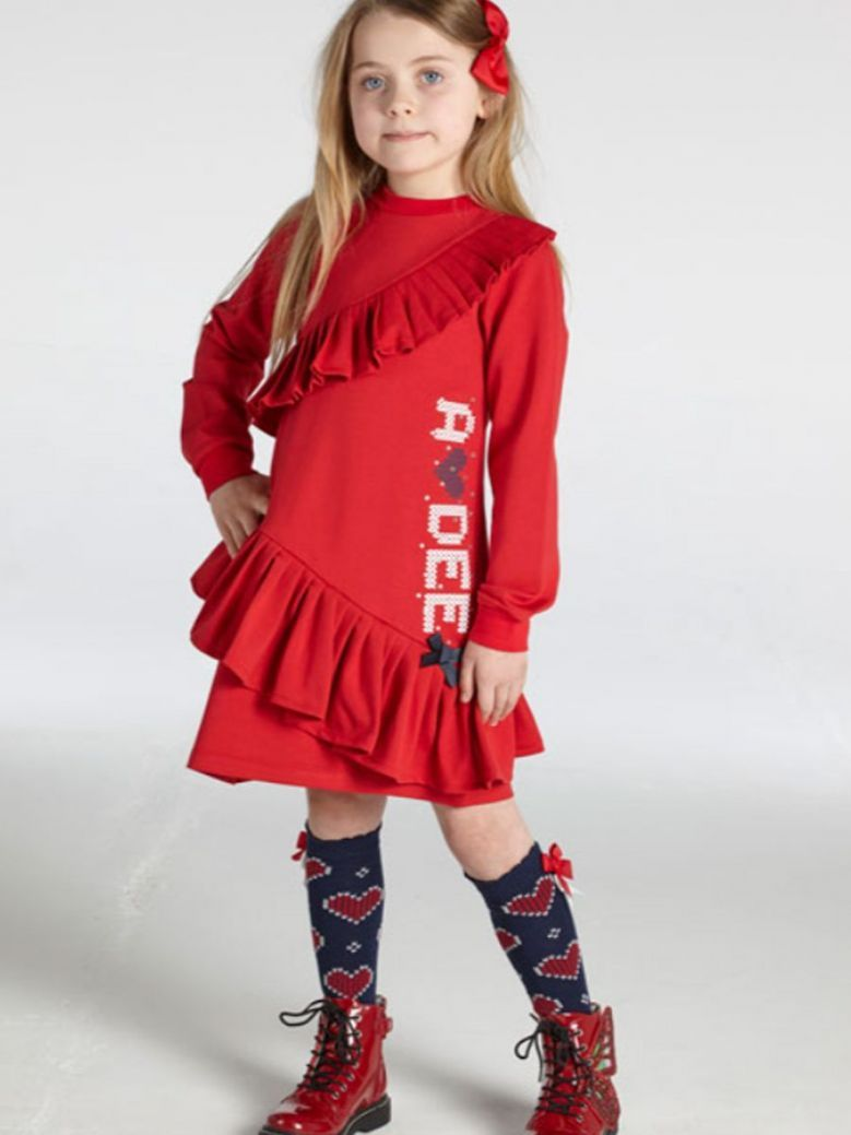 A Dee Rosemary Frill Logo Sweater Dress Red