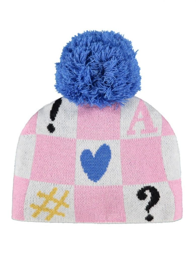 A Dee Shirley Symbol Knitted Hat Pink