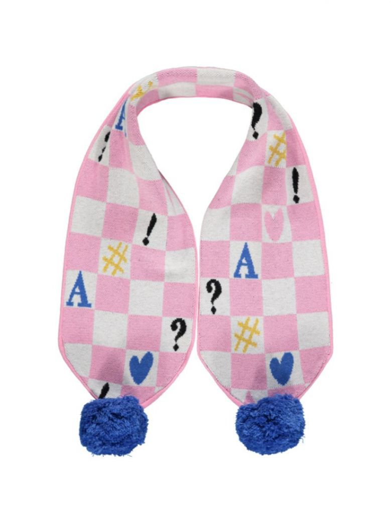 A Dee Shona symbol Knitted Scarf Pink