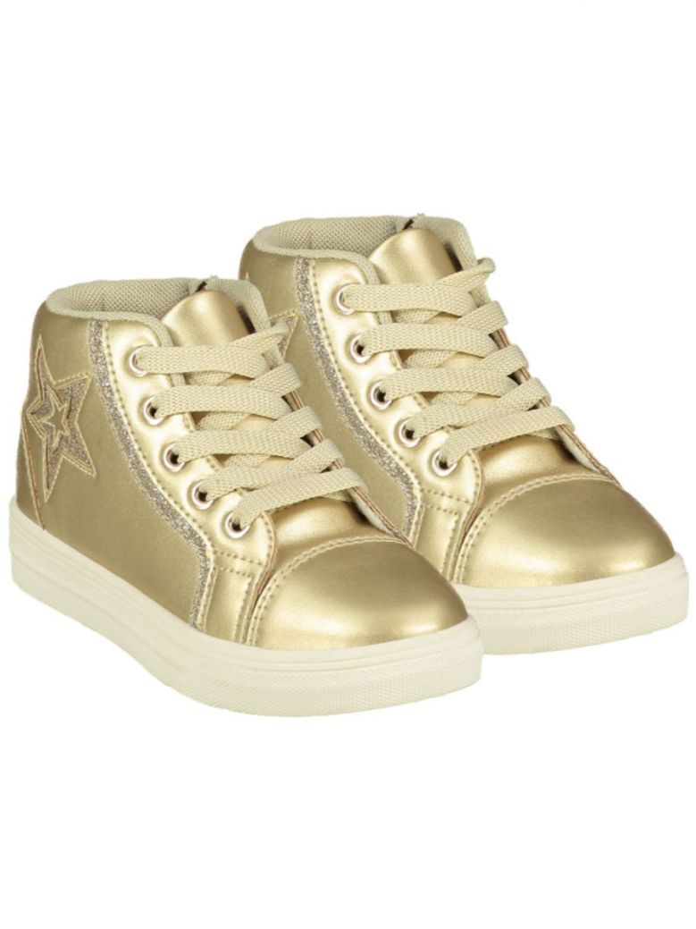 A Dee Star Lace Up High Top Gold